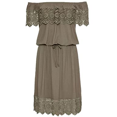 97ba438d586a Ladies Dress Summer Solid Sexy Off Shoulder Casual High Waist Lace ...
