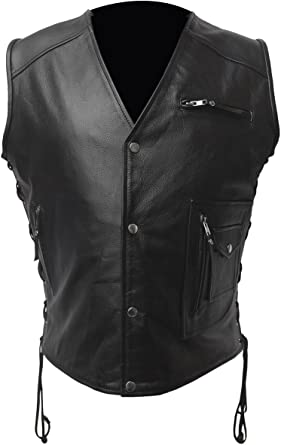 Men Real Black Cow Leather Vest Heavy Duty Steampunk Gothic Style Vest Waistcoat