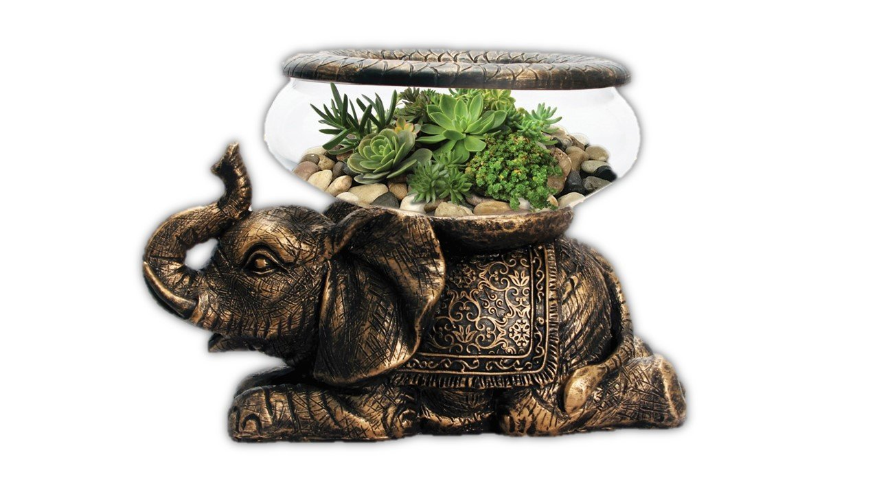 The Nifty Nook New Good Luck Decorative Gold Antiqued Elephant Glass Bowl,Terrarium or Candle Holder with Color Gift Box by The Nifty Nook