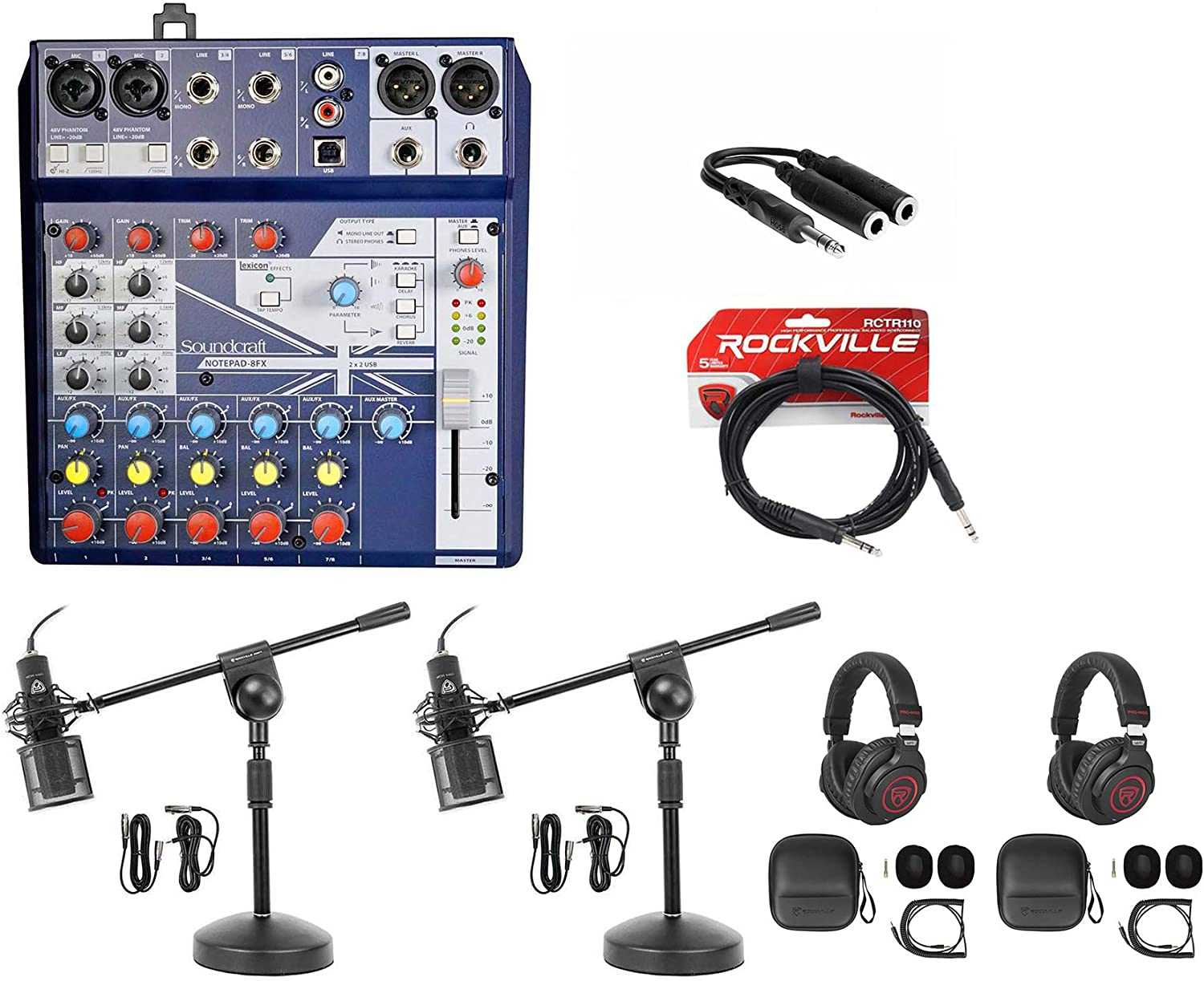 2 Person Podcasting Podcast Bundle w//Soundcraft Mixer+Headphones+Pro Mic+Stand