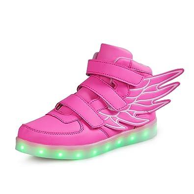 SAGUARO® Leuchtende Kinderschuhe 7 Farben LED Schuhe USB Aufladen Leuchtschuhe Mädchen Jungen Blinkschuhe Licht Sportschuhe Turnschuhe Sneaker, Blau 32