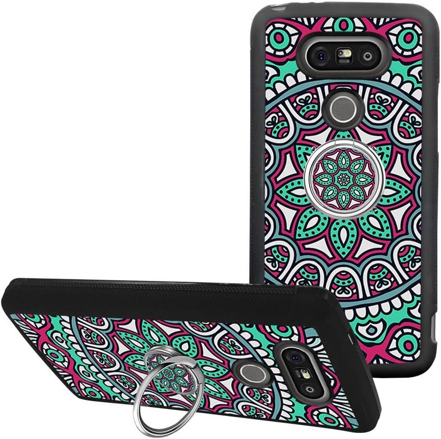 Universal Custom Mandala Flower LG G5 Phone Case Ring Holder Kickstand Rotational Heavy Duty Armor Protective Soft TPU Bumper Shell Cover for LG G5