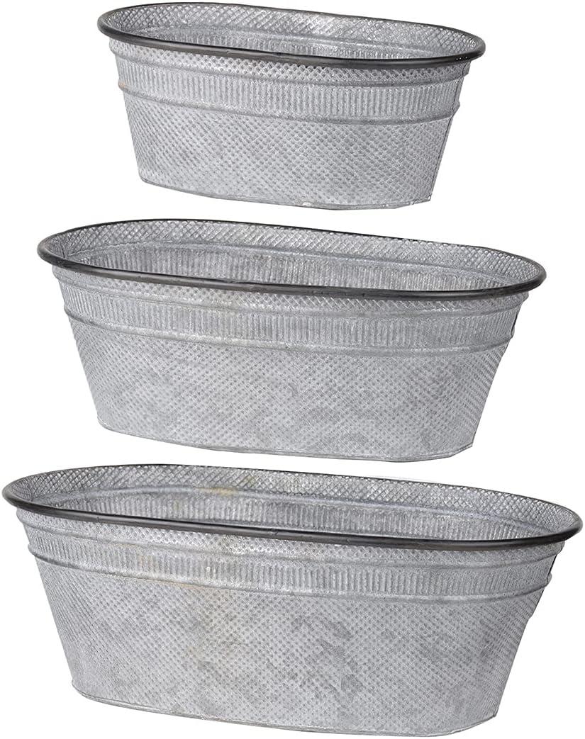 A&B Home D42203 Clemson Oval Metal Tubs, Set of 3, Zinc