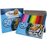 Thornton's Art Supply Soft Core 50 Piece Artist Grade Colored Pencil Adult Coloring Set, Assorted Colors