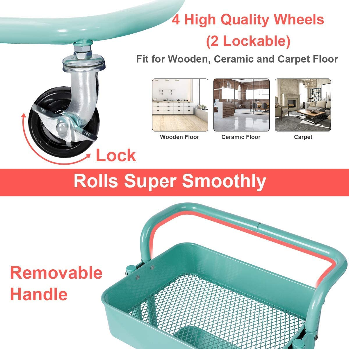 Home Crafts Orange Tech 3-Tier Rolling Utility Cart with Handle Gray Metal Rolling Cart with Moving Smoothly Wheels for Arts Multifunction Storage Trolley -Heavy Duty Cart Basket Shelf Office