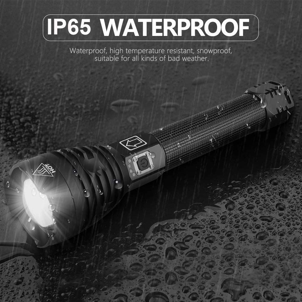 200000LM LED Flashlight USB Rechargeable Zoomable Powerful Torch Light XHP90