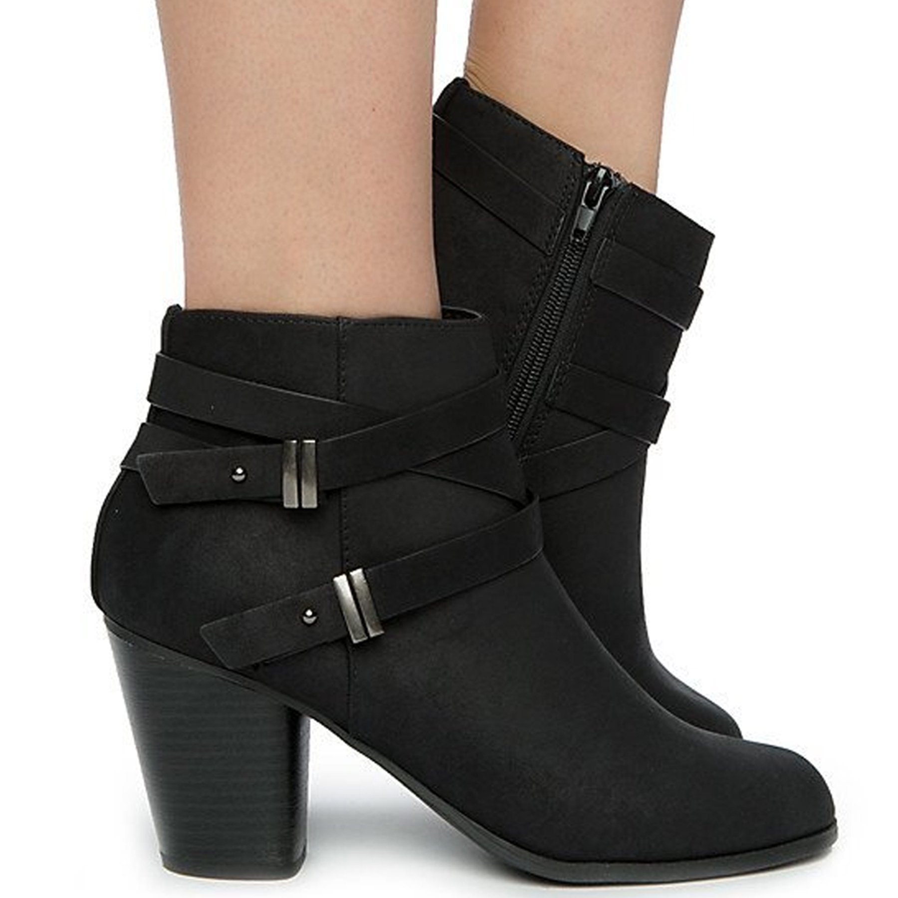 Soda Alum Womens Stylish Buckle Strap Dress Ankle Bootie (9 B(M) US, Black Nubuck)