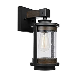 Globe Electric Williamsburg 1-Light Wall Sconce, Bronze, Dark Wood Finish Accents, Seeded Glass Panes 65931, 0
