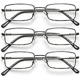 Reading Glasses for Men, 3 Pack Metal Frame Blue Light Blocking Reading Glasses