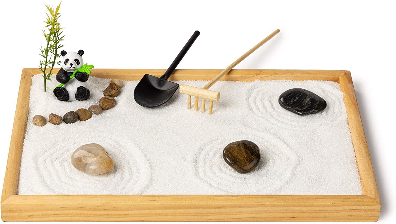 Gusta Products Zen Garden with Panda - 12x8 Inches Large - Premium Japanese Zen Garden Kit - Perfect Size for Home Office or Work Desk - Relaxation & Meditation Gift - Panda Lovers