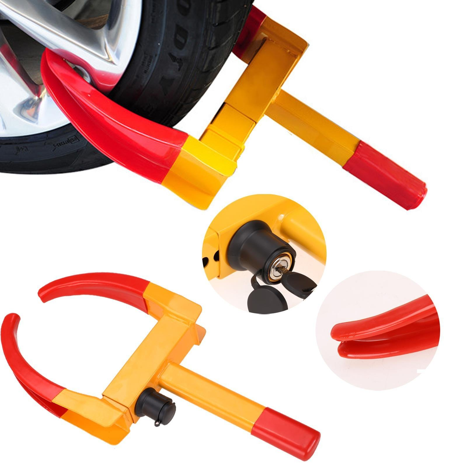 Pesters Heavy-duty Car Tire Wheel Lock Automotive Anti-theft Lock, Towing Wheel Clamp Boot Tire Lock for Car Truck ATV, RV, Golf Carts, Boat Trailers, Scooters, Lawn Mowers (US STOCK) (Type_1)
