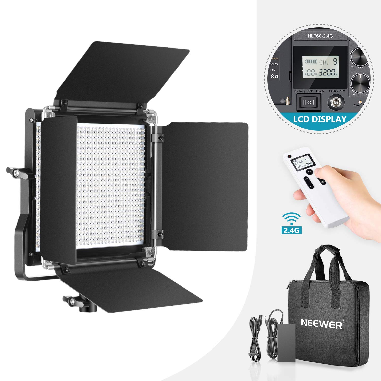 Neewer Advanced 2.4G 660 LED Video Light, Dimmable Bi-Color LED Panel with LCD Screen and 2.4G Wireless Remote for Portrait Product Photography, Studio Video Shooting with Metal U Bracket and Barndoor by Neewer
