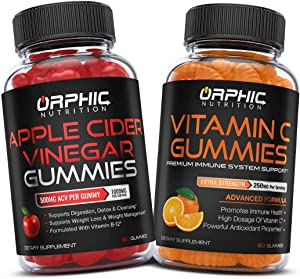 Apple Cider Vinegar & Vitamin C Gummies for Daily Immune Support - Formulated for Weight Loss, Energy Boost & Gut Health - Supports Digestion, Detox & Cleansing - VitaminC Supplement with Antioxidants