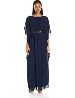 Sangria Womens Chiffon Gown with Gold Belt Detail