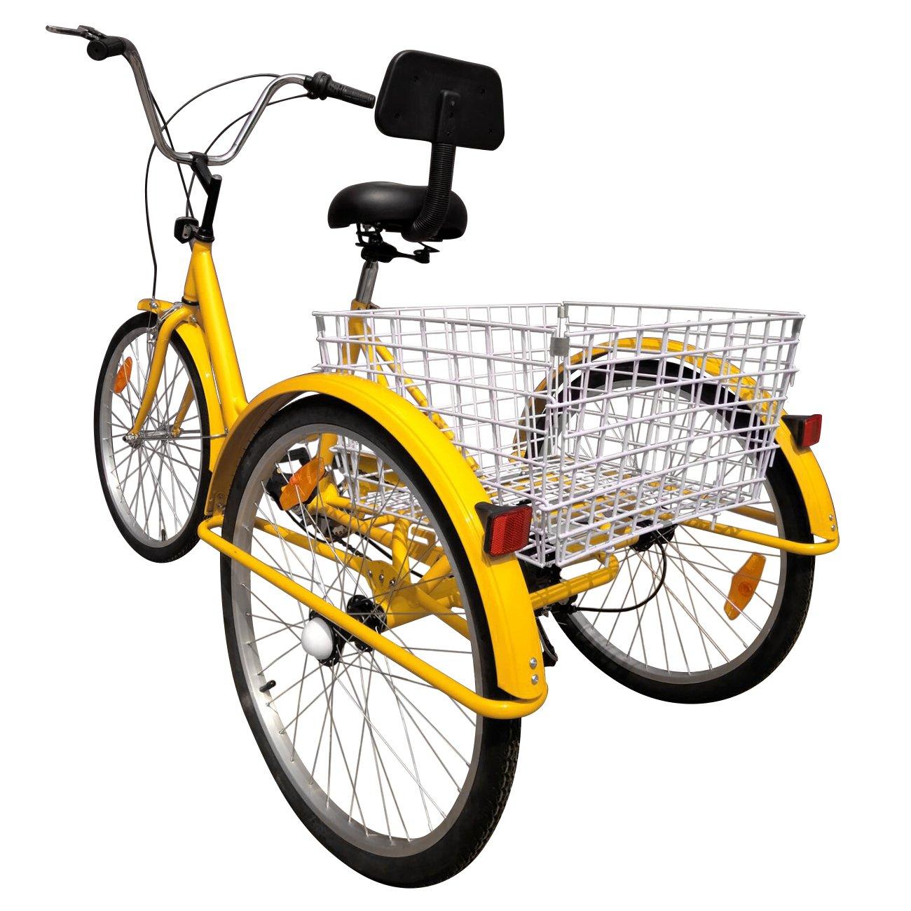 IglobalbuyYellow 24-Inch 6-Speed Adult Tricycle Trike 3-Wheel Bike Cruise Bike with Basket by Iglobalbuy (Image #3)