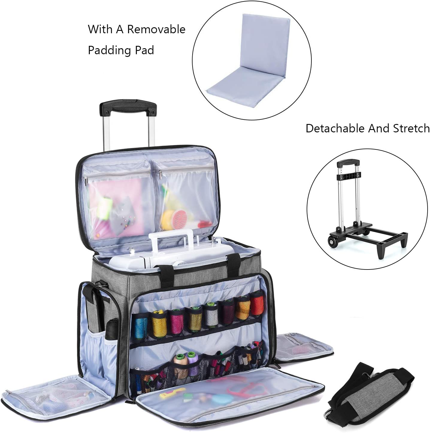 Patented Design Fits for Most Standard Sewing Machines Purple Luxja Sewing Machine Case with Detachable Dolly Rolling Sewing Machine Tote with Removable Bottom Pad
