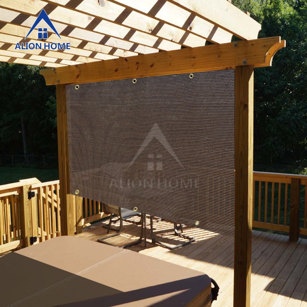 Alion Home Sun Shade Privacy Panel with Grommets on 2 Sides for Patio, Awning, Window, Pergola or Gazebo - Mocha Brown (12' W X 8' H)