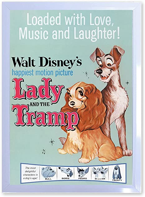 """Vintage Walt Disney/'s Lady and the Tramp Movie Poster 18 1//2/"""" X 28/"""""""