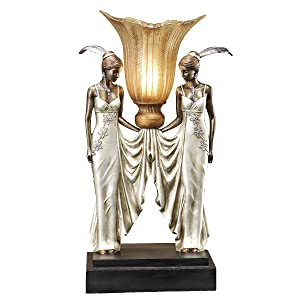 Design Toscano Art Deco Peacock Maidens Sculptural Table Lamp, 20 Inch, Polyresin, Bronze and Pearl Finish