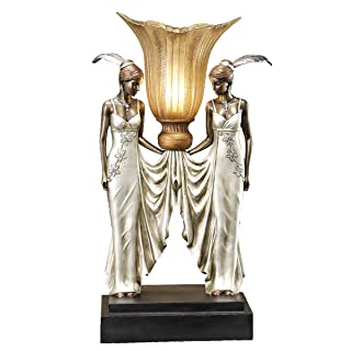 Design Toscano Art Deco Peacock Maidens Sculptural Table Lamp, 20 Inch, Bronze and Pearl Finish