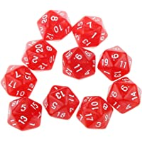 Prettyia 10pcs Red Twenty Sided D20 Dice for Playing Dungeons and Dragons D&D RPG Board Game Favours and Math Teaching