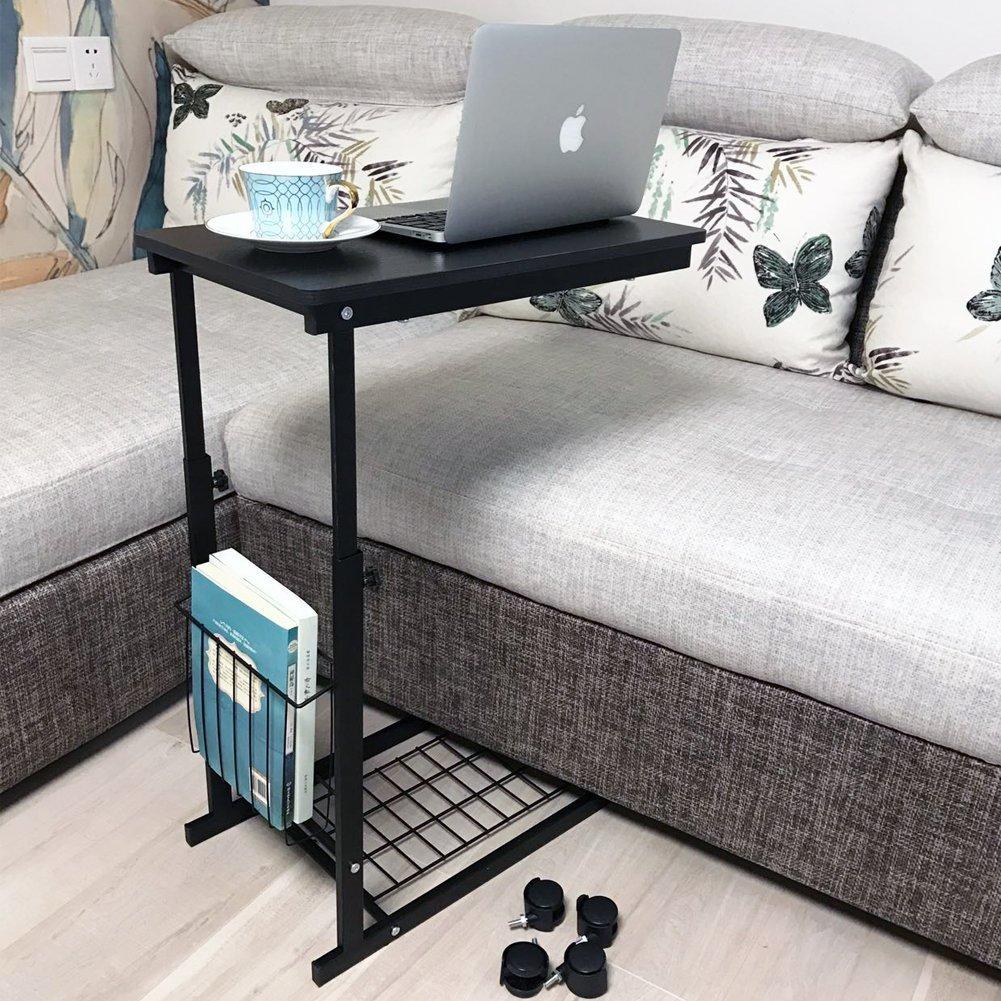 micoe altezza regolabile con ruote divano tavolino scorrevole sotto regolabile tavolo console con portaoggetti nero