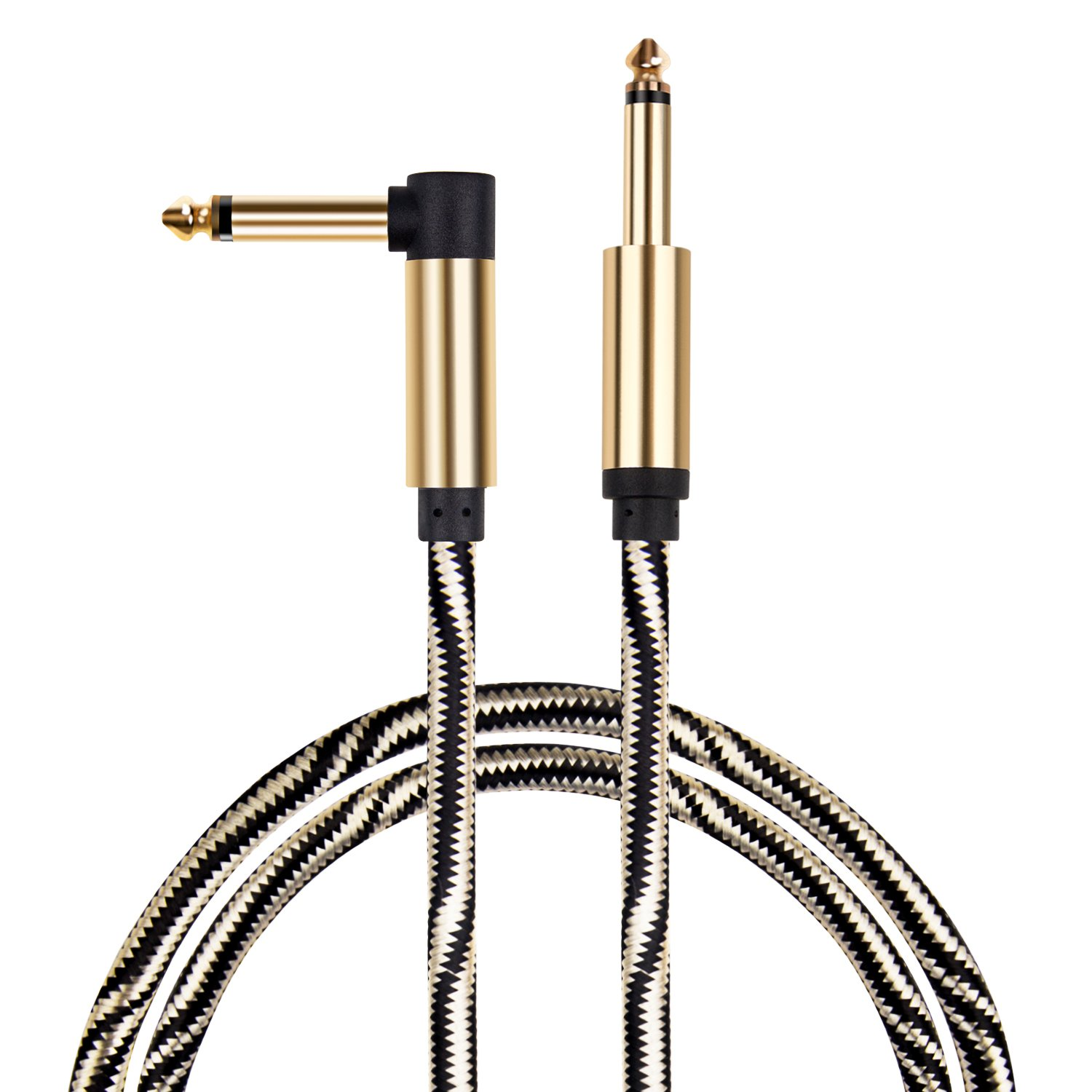 Guitar cable, Mugig Performance Instrument Cables 10ft, 1/4 Inch (6.3mm) Straight to Right Angle Golden Black Copper Shielding Line for Electric Guitar, Bass Guitar, Keyboard