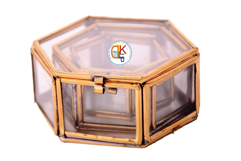 fc4bdab65 KDT Gold Brass 3 Piece Hexagon Jewellery Box (4 X 8 X 8 cms) - Pack of 1:  Amazon.in: Jewellery