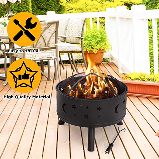 Vnewone Outdoor Fire Pit Metal FirePit Patio Garden Stove Wood Burning Round Table Heating