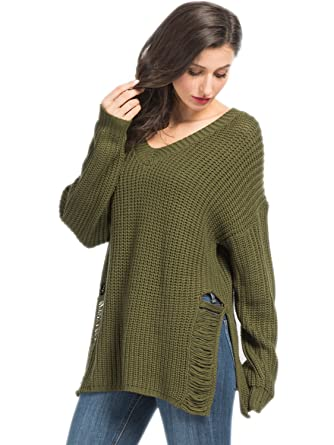 78b4bfe556a Choies Women s Army Green Ripped Knit Jumper V-neck Knitted Oversied Sweater  Pullover S