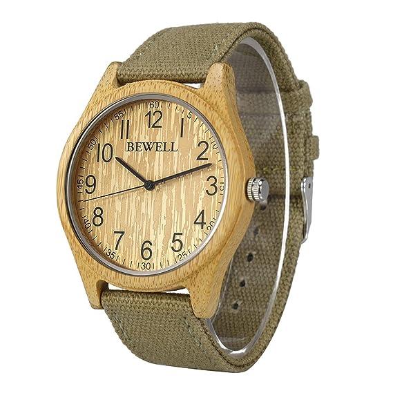 BEWELL Relojes Madera Hombre Analógico Cuarzo Japonés con Correa de Tela Redondo Casual Relojes de Pulsera