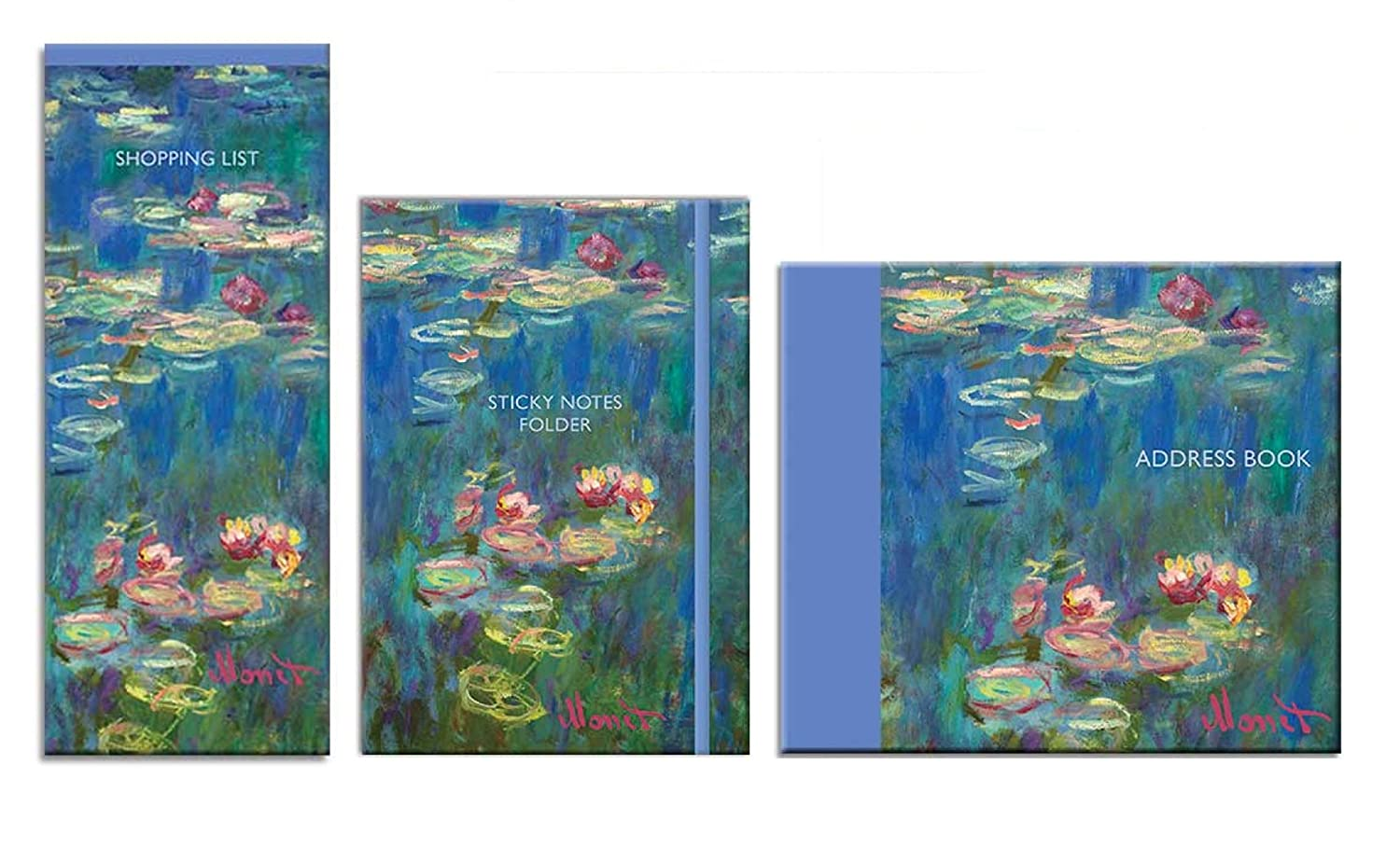 Claude Monet Stationery Bundle - Lista de compras, carpeta ...