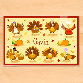 Amazon.com: Olive Kids Personalized Thanksgiving Placemat: Home ...