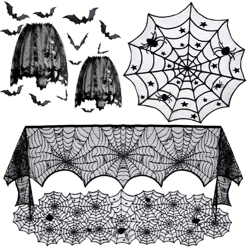 Creepy COBWEBS /& BATS Halloween Kitchen Towels Set 2