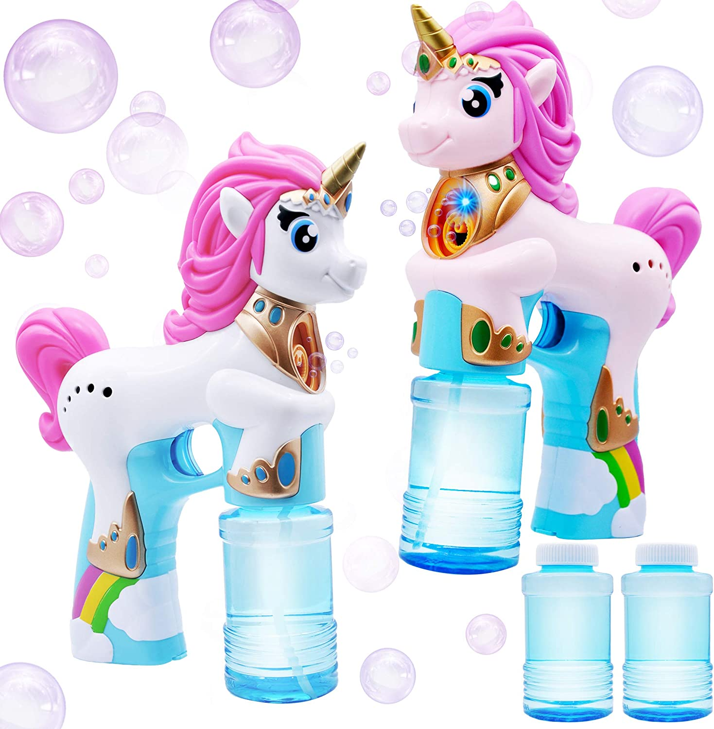 JOYIN 2 Colored Automatic Unicorn Bubble Blaster Guns with 4 Bubble Solutions (4oz) for Kids, Outdoor Summer Fun, Party Favors, Summer and Birthday Party