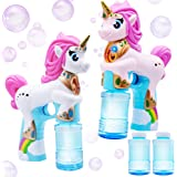 JOYIN 2 Colored Automatic Unicorn Bubble Blaster Guns with 4 Bubble Solutions (4oz) for Kids, Outdoor Summer Fun, Party…