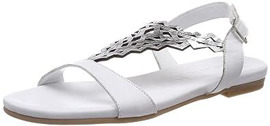 Tamaris 28126, Sandales Bride Arrière Femme, Blanc (White/Silver), 42 EU