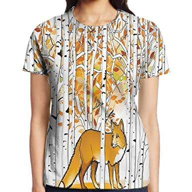 1321b583d09 Amazon.com  WuLion Fox Hunting in Autumn Forest Birch Trees Rustic  Wilderness Animal Women s 3D Print T Shirt White  Clothing