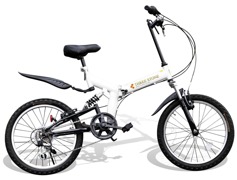 折りたたみ自転車 20インチ カラー:ホワイト マウンテンバイク フルサスペンション AJ-01GR シマノ社製外装6段ギア/前後泥除け/リア&フロントサスペンション/ワイヤーロック錠サービス B01G3FZ58M