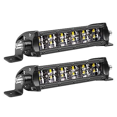 6 Inch LED Light Bar, Teochew-LED 2Pcs Slim Light Bar Spot LED Pods Lights Off Road Driving Lights for Truck Offroad UTV ATV SUV Tractor Boat: Automotive