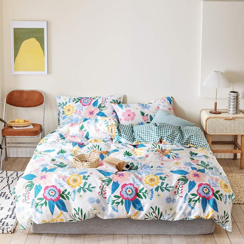 Reversible Green/White Buffalo Plaid Bedding Sets 3pcs Flowers Comforter Cover for Women Teen Girls