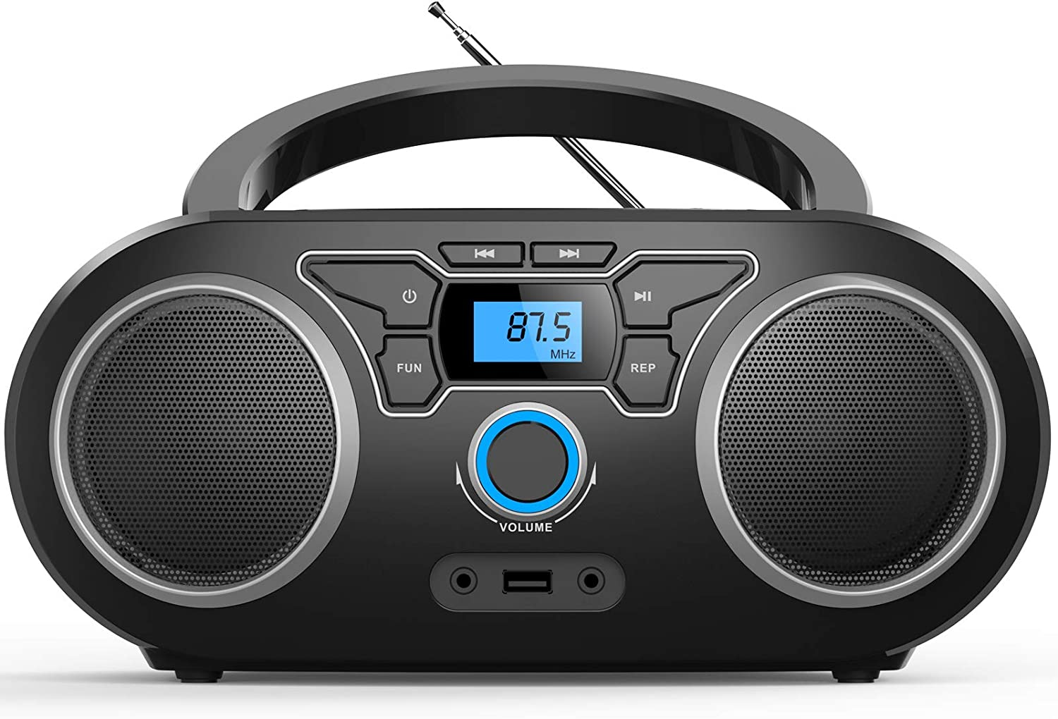 Portable CD Player Boombox with Bluetooth & FM Radio, USB MP3 Playback,3.5mm AUX Headphone Jack and USB Input, Compact CD Player Radio Stereo System(WTB771)