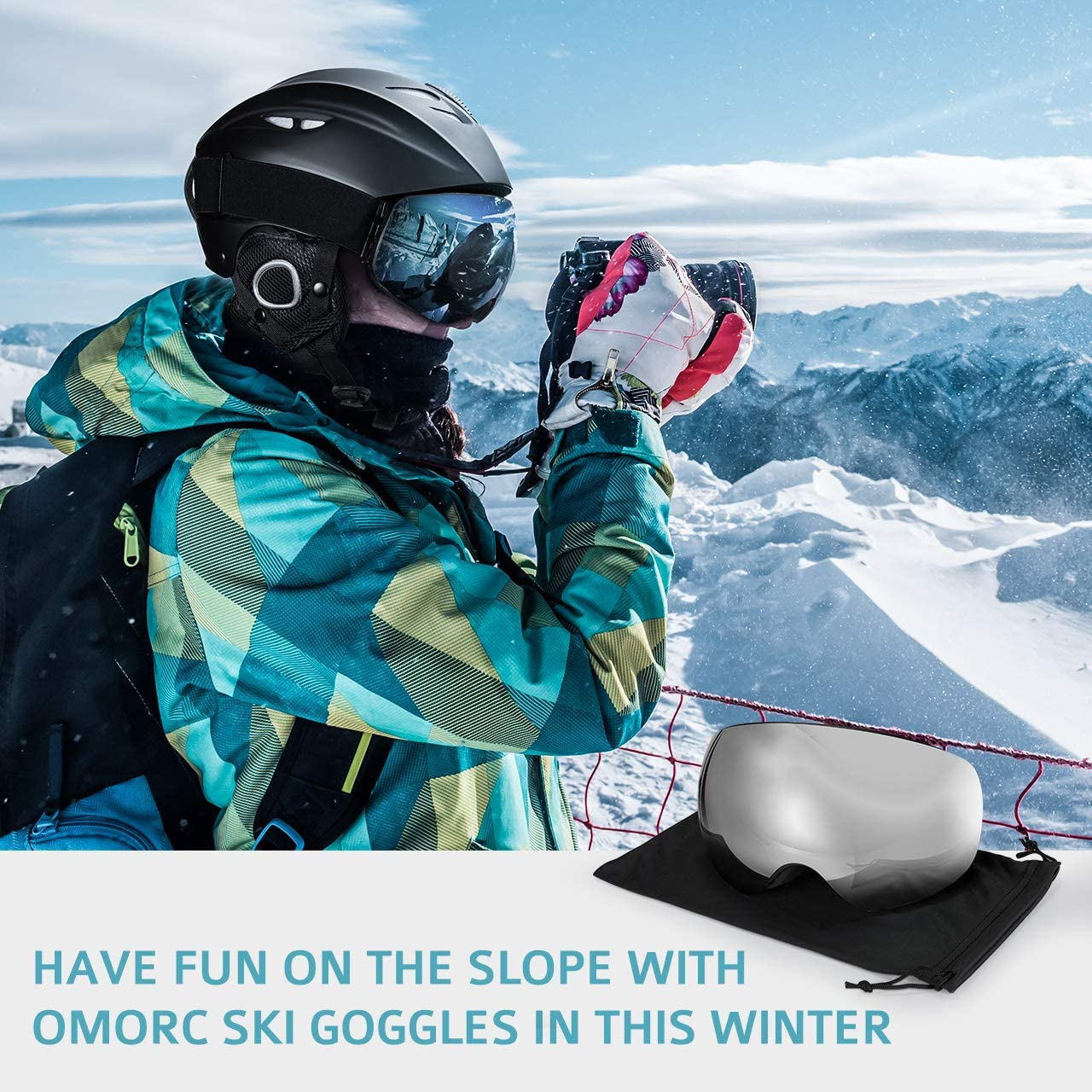 OMORC Ski Goggles Anti-Fog /& OTG Design Snowboard Skate Goggles Snowmobile Ski Snow Glasses with 100/% UV400 Protection,Super-wide Angle and Spherical Dual-layer Lens,Bendable Frame,Anti-slip Strap for Men and Women