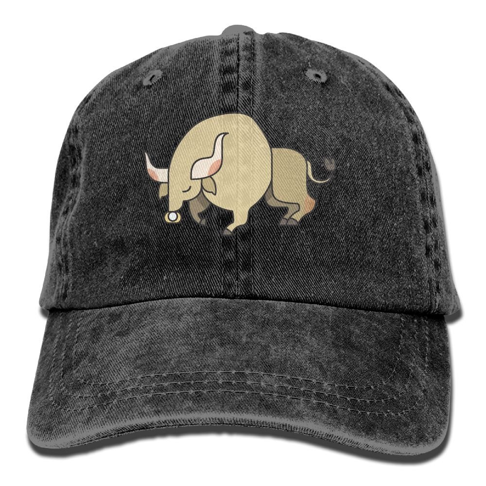 SDFS83 Bull Adult Cowboy Hat Baseball Cap Adjustable Athletic Customizable Best Hat For Men and Women