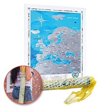 Europe Discovery Map with Scratch off – Große Detaillierte Rubbel on