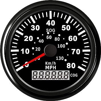 ELING 3-3//8 Auto GPS Speedometer Odometer Velometer 0-120KM//H Speed Gauge with Trip Mileage 9-32V