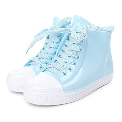 Luise Hoger New Fashion Women Lace-Up Rain Boots Female Non-Slip Ankle Rainboots Candy Colors Woman Water Shoes Pvc Sky Blue 5