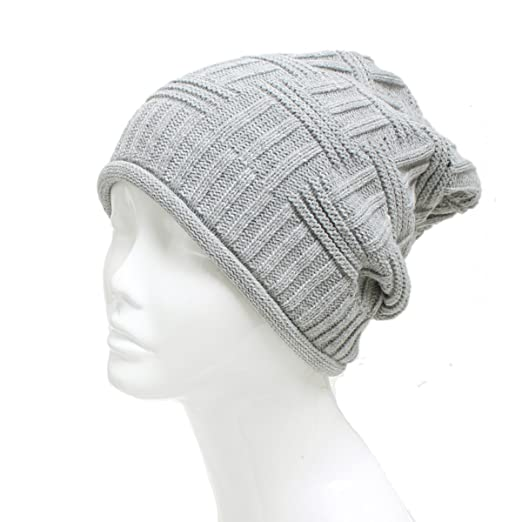 7d30e207526 Amazon.com  AN Baggy Beanie Hat Slouch Cap Light Gray Stripe Cable Knit  Crochet Headwear  Clothing