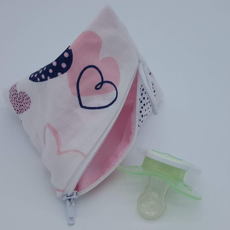 Aufbewahrung Schnuller-Tasche XL f/ür 2-4 Nuckel Herz