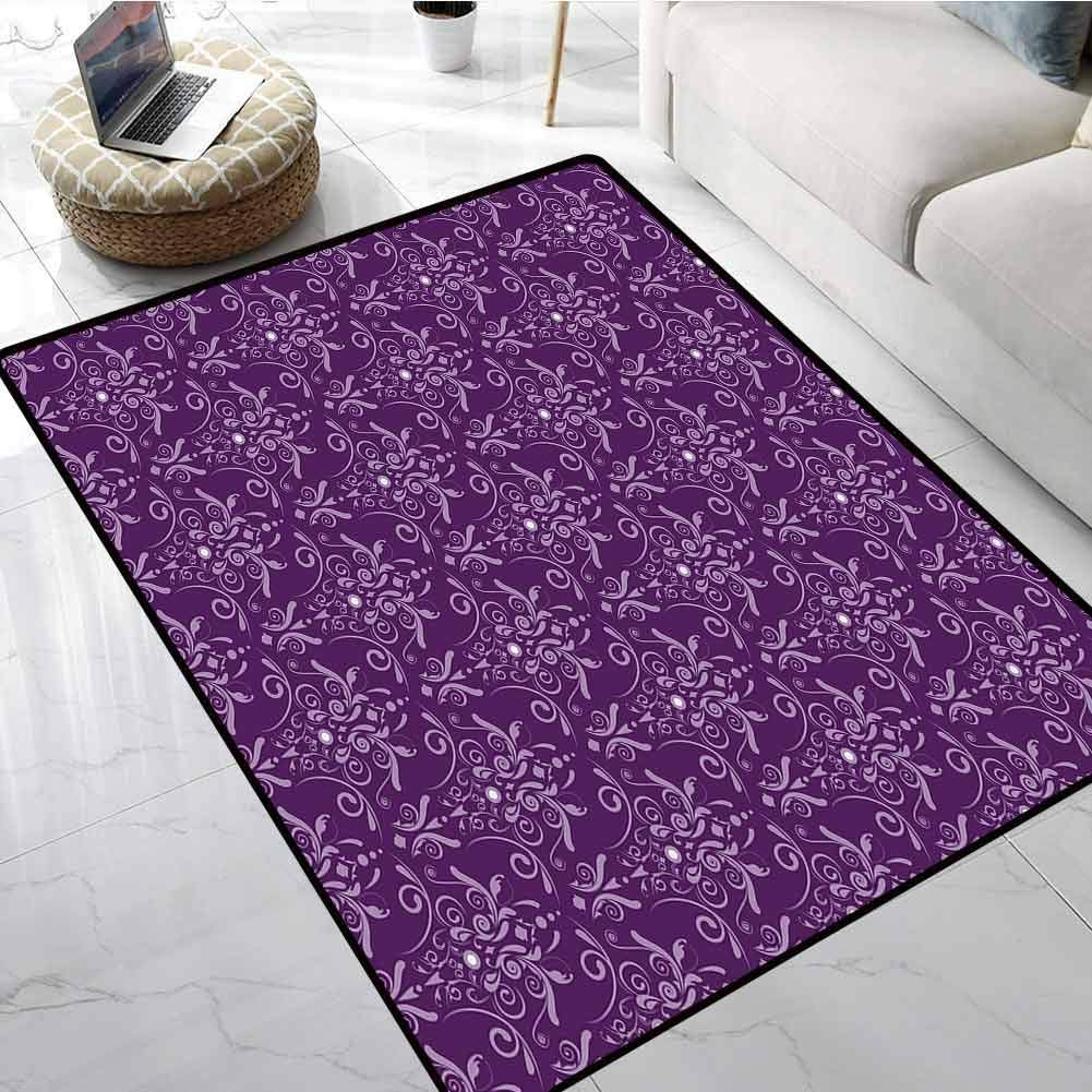 Eggplant Outdoor Carpet Damask Pattern with Symmetrical Abstract Leaves and Swirls Forming Unified Look Office Chair Floor Mat Foot Pad 24 X 36 Inch
